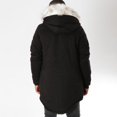 John H - Parka Fourrure 903 Noir Blanc