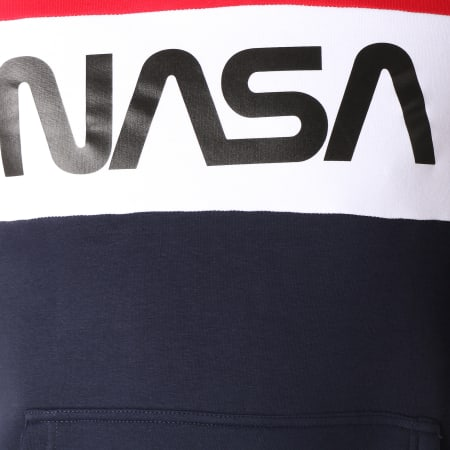 NASA - Sweat Capuche Worm Logo Bleu Marine Blanc Rouge