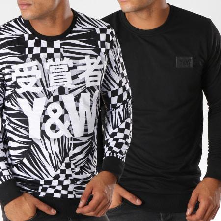 Y et W - Sweat Crewneck Réversible Mat Failure Noir Blanc