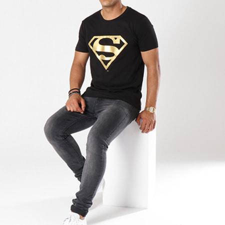 Superman - Tee Shirt Gold Logo Noir