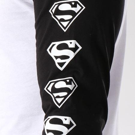 Superman - Tee Shirt Manches Longues Raglan Logos Blanc Noir