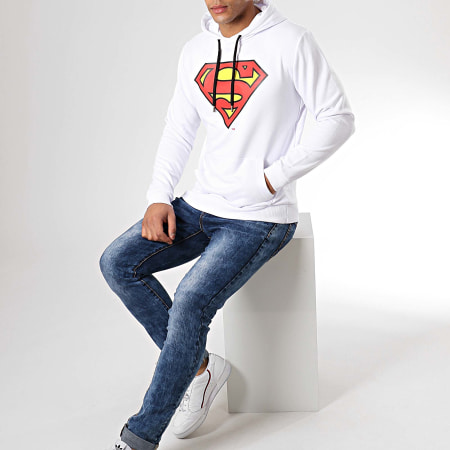 Superman - Sweat Capuche Classic Logo Blanc