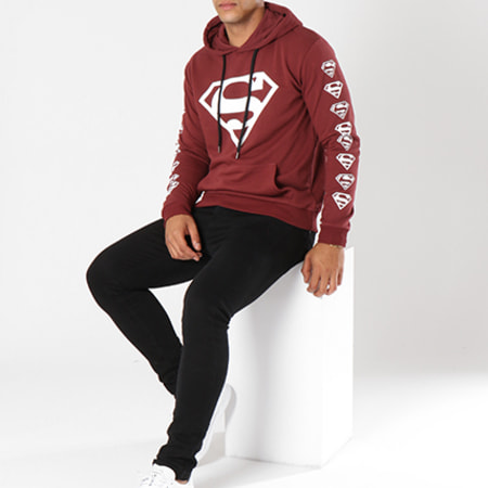 Superman - Sweat Capuche Logos Bordeaux