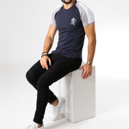 Gym King - Tee Shirt Oversize Contrast Piped Bleu Marine Gris Blanc