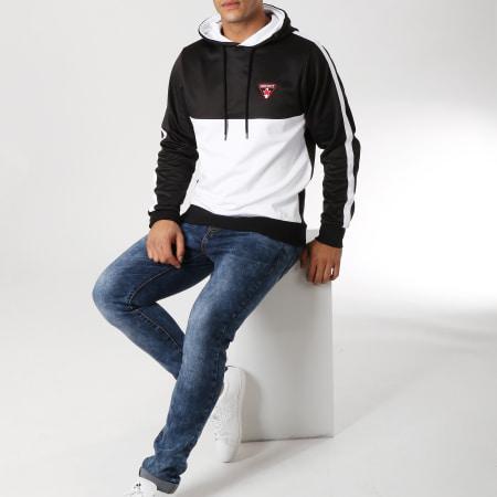 Distinct - Sweat Capuche Bicolore Blanc Noir