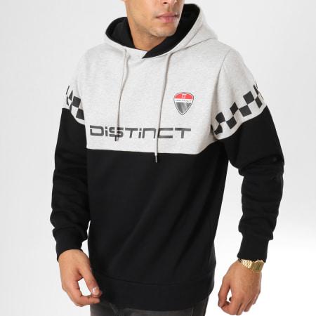 Distinct - Sweat Capuche Racing Noir Gris Chiné