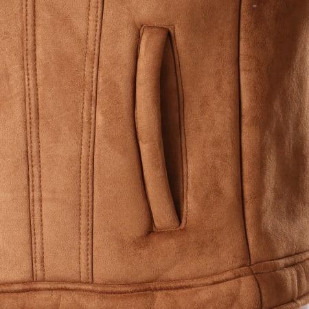 Frilivin - Veste Zippée Suédine Col Mouton QQ515 Camel