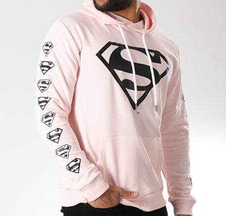 Superman - Sweat Capuche Logos Rose Pale