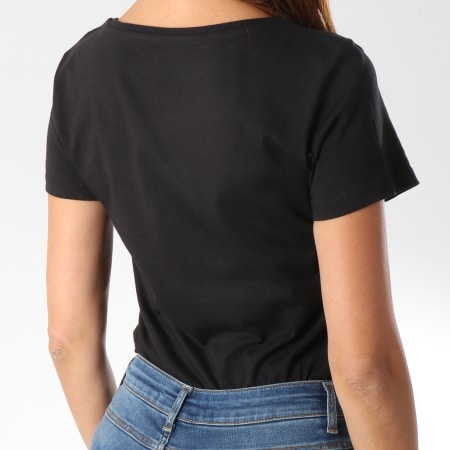 Superman - Tee Shirt Femme Gold Logo Noir Doré