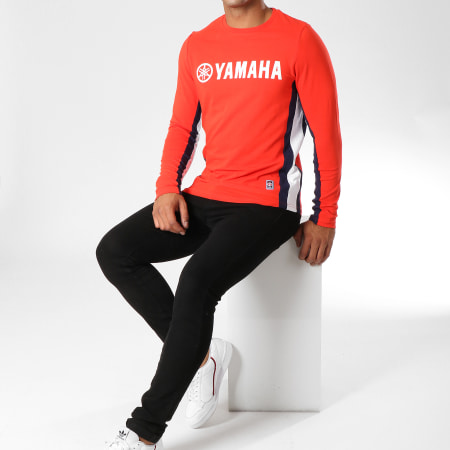 Yamaha - Tee Shirt Manches Longues Avec Bandes Long Rouge Bleu Marine Blanc