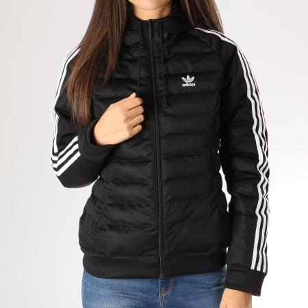 adidas - Veste Zippée Capuche Femme DH4587 Noir Blanc ...