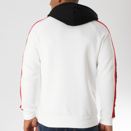 John H - Sweat Capuche 9100 Blanc Noir Rouge