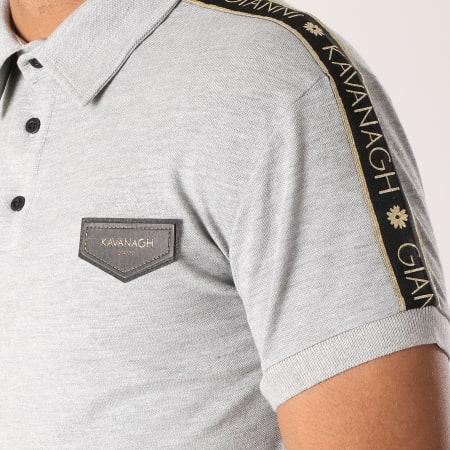Gianni Kavanagh - Polo Manches Courtes Oversize Luxes Ribbon Gris Chiné Noir Doré