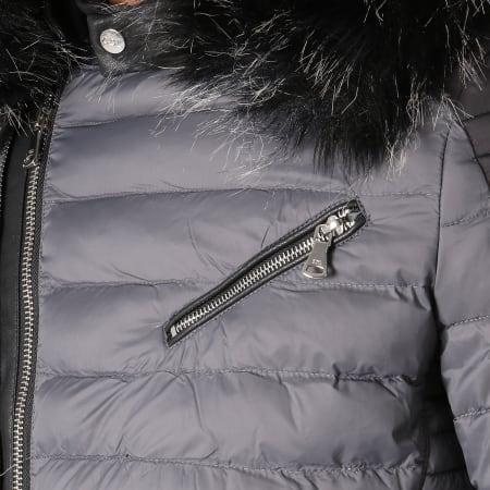 Comme des Loups - Doudoune Fourrure F1837 Gris Noir Gris