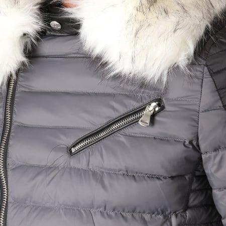 Comme des Loups - Doudoune Fourrure F1837 Gris Noir Blanc