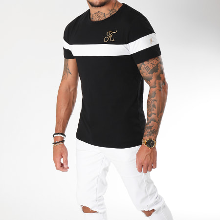 Final Club - Tee Shirt Gold Label Bicolore Avec Broderie Or 106 Blanc Noir