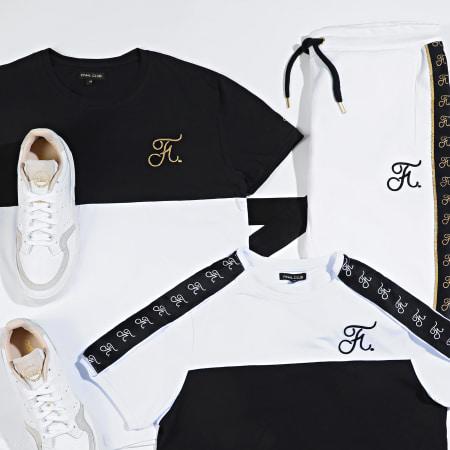 Final Club - Tee Shirt Oversize Gold Label Bicolore Avec Broderie Or 108 Blanc Noir