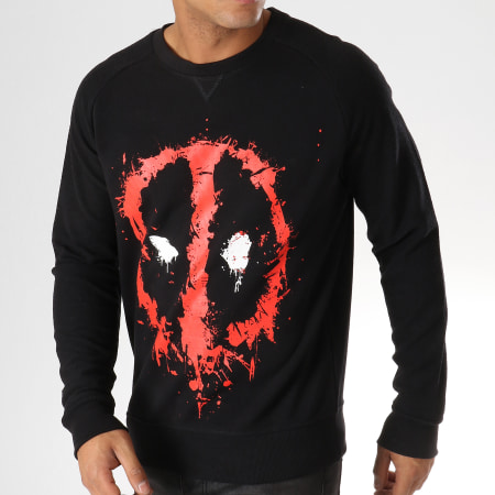 Marvel - Sweat Crewneck Deadpool Dripping Face Noir Rouge