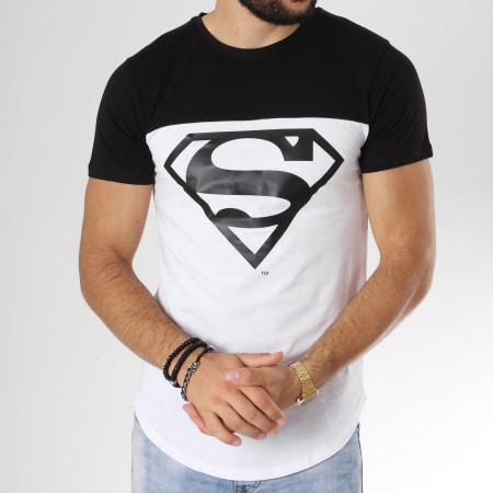 Superman - Tee Shirt Oversize Bicolore Logo Blanc Noir