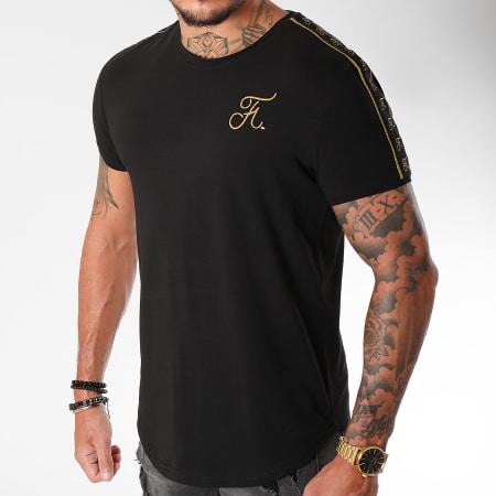 Final Club - Tee Shirt Oversize Gold Label Avec Bandes Et Broderie Or 103 Noir