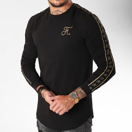 Final Club - Tee Shirt Manches Longues Oversize Gold Label Avec Bandes Et Broderie Or 104 Noir