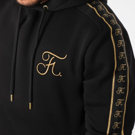 Final Club - Sweat Capuche Gold Label Avec Bandes Et Broderie Or 105 Noir