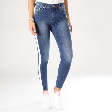 Girls Only - Jean Slim Femme Avec Bandes 7139 Bleu Denim Blanc