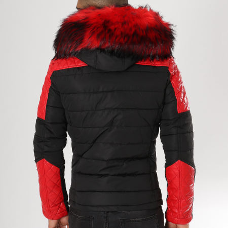 MTX - Doudoune Fourrure 735 Noir Rouge
