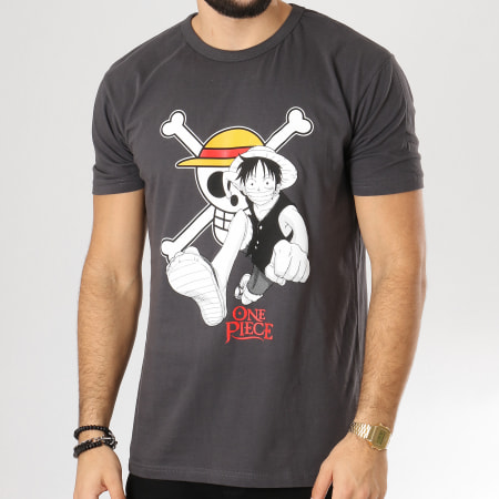 One Piece - Tee Shirt Luffy And Emblem Gris Anthracite