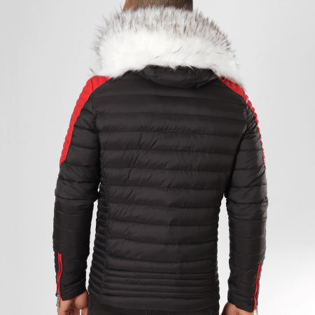 Comme Des Loups - Doudoune Fourrure F1865 Noir Rouge Blanc