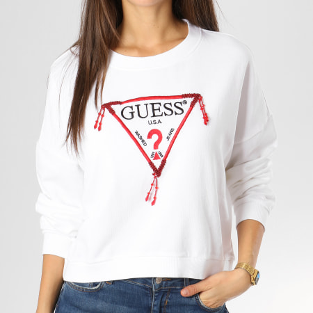 Guess - Sweat Crewneck Femme Crop W91Q45K84T0 Blanc