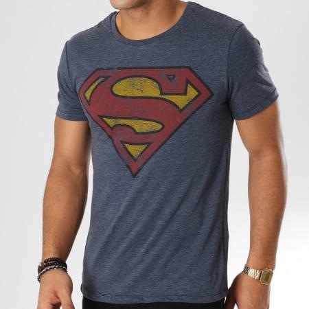 DC Comics - Tee Shirt Superman Logo Vintage Bleu Marine Chiné