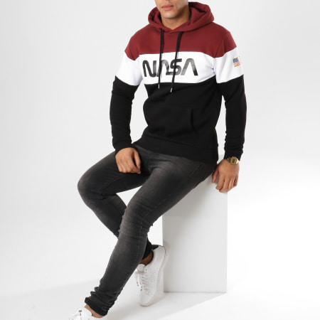 NASA - Sweat Capuche Worm Logo Bordeaux Blanc Noir