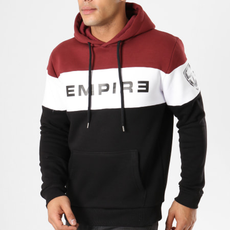 93 Empire - Sweat Capuche 93 Empire Tricolore Noir Blanc Bordeaux