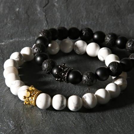 California Jewels - Lot De 2 Bracelets B920 Noir Blanc