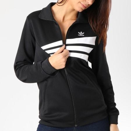 adidas - Veste Zippée Femme Track DU9605 Noir Blanc