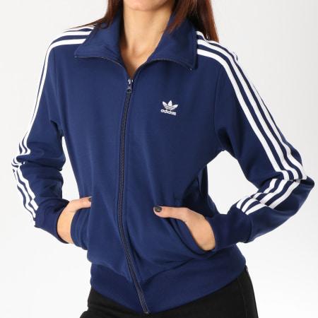 adidas Veste Zippée Femme TT DV2563 Bleu Marine Blanc