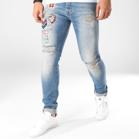 GRJ Denim - Jean Slim Patchs Brodés 12942 Bleu Denim