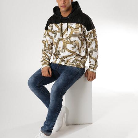 Versace Jeans - Sweat Capuche Tum306 B7GTB7F6 Blanc Noir