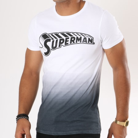 Superman - Tee Shirt Dégradé Comics Blanc Noir