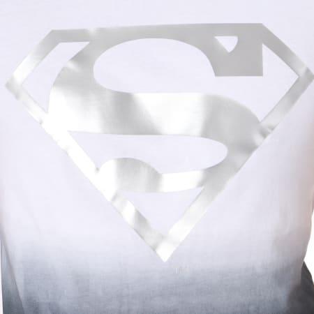 Superman - Tee Shirt Dégradé Silver Logo Blanc Noir Argenté