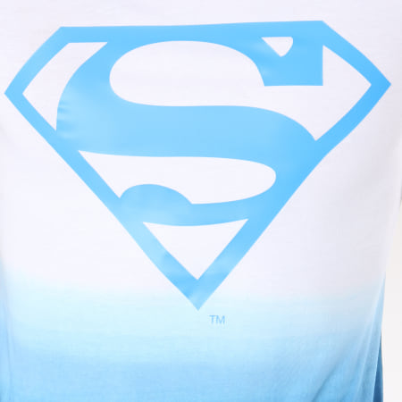 Superman - Tee Shirt Dégradé Logo Blanc Bleu