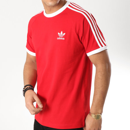 adidas Tee Shirt 3 Stripes DV1565 Rouge Blanc