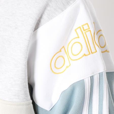 adidas Sweat Col Polo Rugby DV3147 Ecru Gris Chiné Bleu