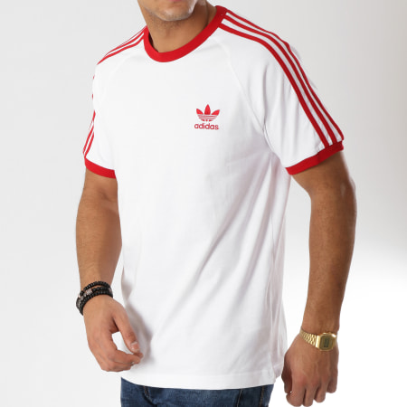 adidas Tee Shirt 3 Stripes DY1533 Blanc Rouge