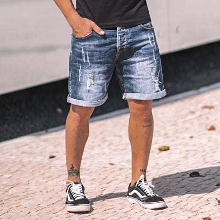 LBO - Short Jean Avec Dechirures LB054-B1 Bleu Brut