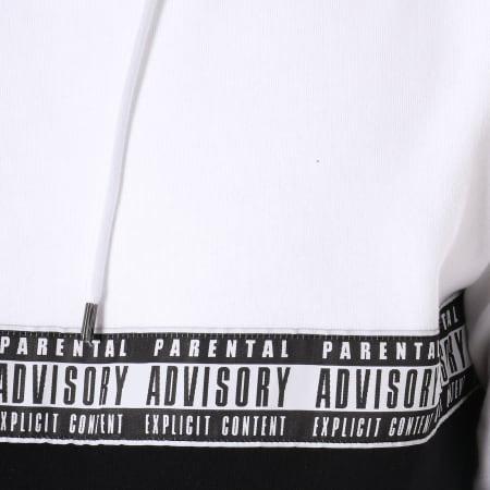 Parental Advisory - Sweat Capuche Avec Bandes Tape Blanc Noir