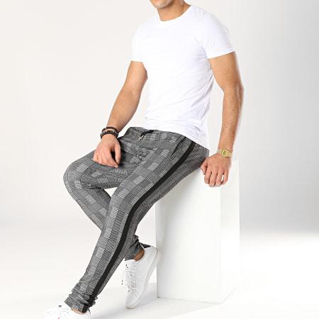 LBO - Pantalon A Carreaux Avec Bandes Noir 591 Gris