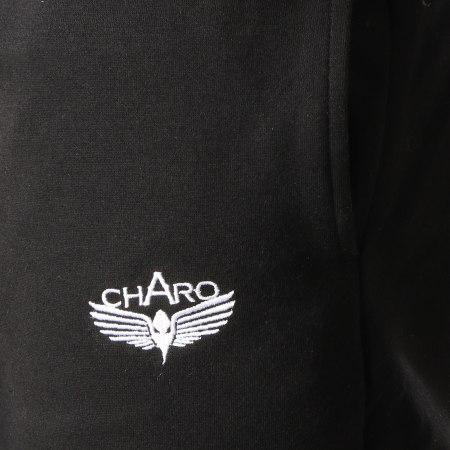 Charo - Pantalon Jogging Hall Noir Blanc Bordeaux