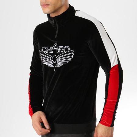 Charo - Sweat Col Zippé Velours Velvet Noir